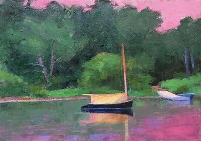 """Larry Horowitz, '""""Catboat, Martha's Vineyard"""" oil painting of a beautiful green wooded area and body of water reflecting the striking pink sunset in the sky above. A blazing yellow boat sits in the center', 2021"""