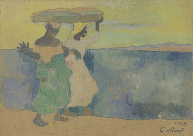 Charles Laval, 'Two Women Carrying Baskets on Martinique', 1889
