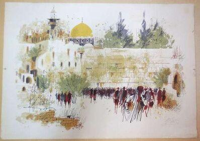 "Shmuel Katz, '""the Western Wall, Old City of Jerusalem"" lithograph'"