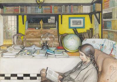 Carl Larsson, 'Läsrummet/Kersti i läsrummet (The study/Kersti in the study) (Included in On the Sunny Side, published 1910) ', 1909