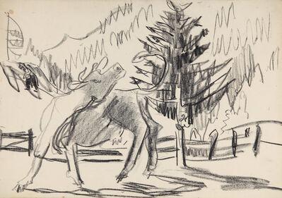 Ernst Ludwig Kirchner, 'Kuh vor Gebirgslandschaft und Tanne (Cow in front of Mountain Landscape and Fir Tree)', 1930