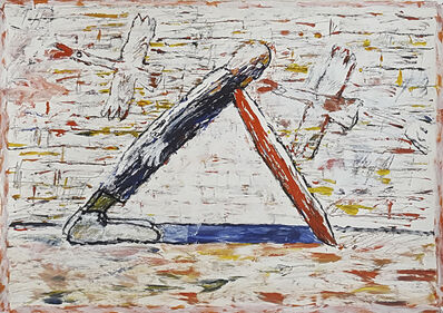 Gaylen Hansen, 'Man Leaning Two Geese', 1989