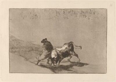 Francisco de Goya, 'El diestrisimo estudiante de Falces, embozadoburla al toro con sus quiebros (The Very Skillful Student of Falces, Wrapped in His Cape, Tricks the Bull with the Play of His Body)', in or before 1816