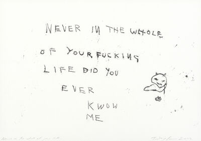 Tracey Emin, 'Never in the Whole of Your Life', 2002