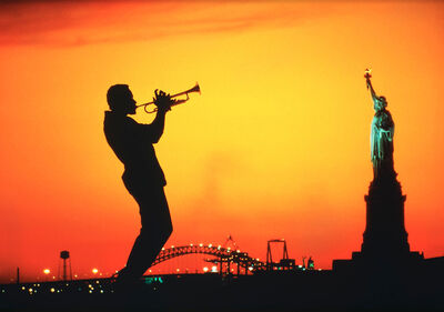 Mitchell Funk, 'Trumpet Jazz Musician and Statue of Liberty ', 1984