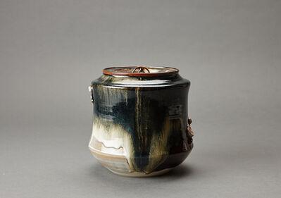 Miraku Kamei XV, 'Water container (mizusashi) with ceramic lid, cherry handles, and kakewake'