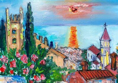 Norma de Saint Picman, 'Water series summer 2019 - plein air in situ paintings, Piran sunset, church, walls...', 2019