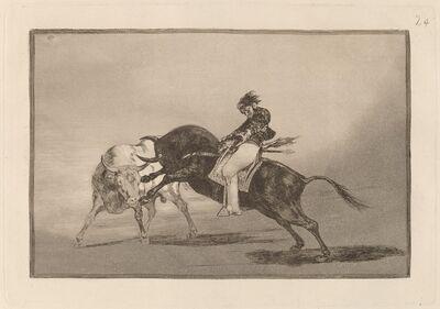 Francisco de Goya, 'El mismo Ceballos montado sobre otro toro quiebra rejones en la plaza de Madrid (The Same Ceballos Mounted on Another Bull Breaks Short Spears in the Ring at Madrid)', in or before 1816