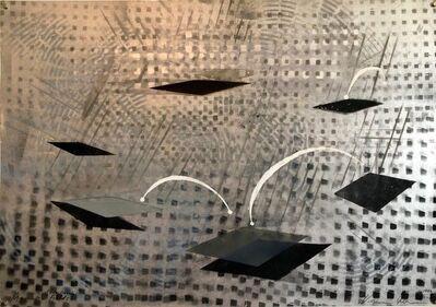 Vivien Abrams Collens, 'Romance of Electricity, Mixed Media Metallic Painting Woman Artist', 1980-1989