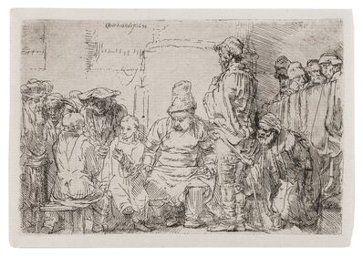 Rembrandt van Rijn, 'Christ seated disputing with the doctors', 1654