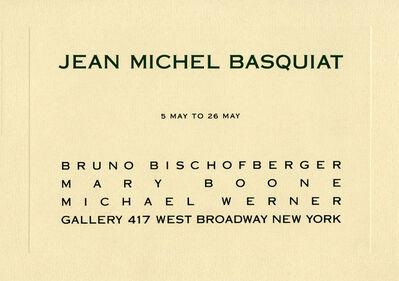 Jean-Michel Basquiat, 'Basquiat at Bruno Bischofberger Mary Boone gallery (1984 announcement) ', 1984