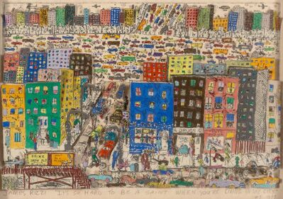 James Rizzi, 'It's So Hard To Be a Saint When You're Living In the City', 1977