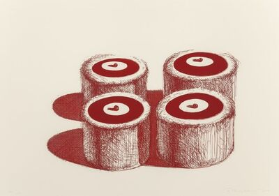 Wayne Thiebaud, 'Cherry Cakes, from Recent Etchings II', 1979