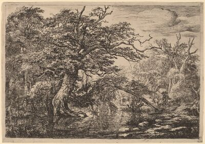 Jacob van Ruisdael, 'A Forest Marsh with Travelers on a Bank (The Travelers)'