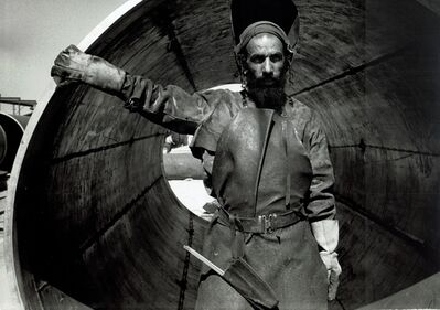 David Seymour, 'vintage print/Yemenite welder and Pipeline, Israel/vintage print', 1954
