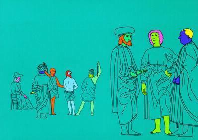 Michael Craig-Martin, 'Deconstructing Piero (turquoise blue) 1', 2004
