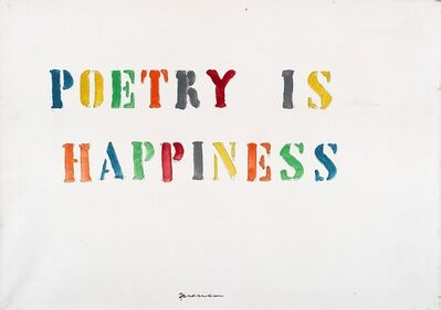 Mabellini Isaia Sarenco, 'Poetry is happiness'