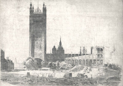 Arthur Streeton, 'Victoria Tower, Westminster', ca. 1910