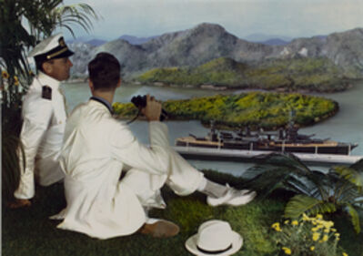 Lejaren à Hiller, 'Naval officer and young man on hillside with binoculars, overlooking battleship in bay below', 1950