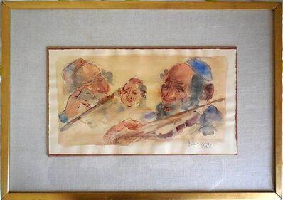Chaim Gross, 'Jewish Klezmer Musicians, Judaica watercolor'