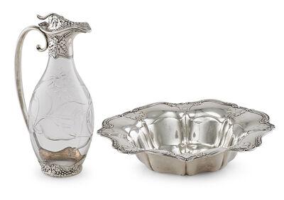 Gorham, 'Gorham Sterling Silver Bowl & Silver Overlay Claret Jug', early 20th c.