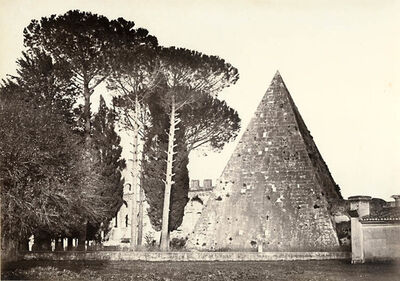 Robert MacPherson, 'Old Protestant Cemetery with Pyramid of Caius Cestius, the English Burying Ground and Tomb of Shelley, Rome', 1850s