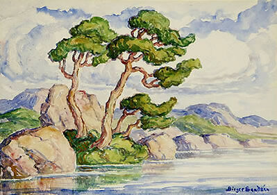 Birger Sandzén, 'Trees Along a River-Estes Park Colorado', 1920