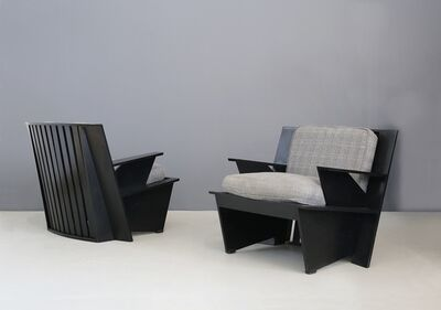 Umberto Riva, 'Pair of MidCentury Armchairs by Umberto Riva Mod. Arighi for Poltronova, 1986', 1986