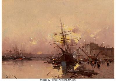 Eugène Galien-Laloue, 'Port Breton au crépuscule'