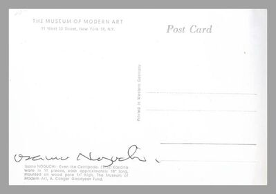 Isamu Noguchi, 'Even the Centipede (Hand Signed Card from the Estate of UACC President Cordelia Platt)', ca. 1988