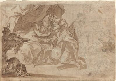 'Jacob and Rebecca before Isaac [recto]', early 18th century
