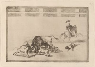Francisco de Goya, 'Echan perros al toro (They Loose Dogs on the Bull)', in or before 1816