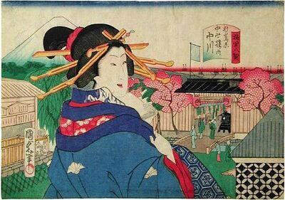 Utagawa Kunisada II, 'Eight Views of the Flower Districts: Cherry Blossom Gate at Nakagawa, Odawara', 1869