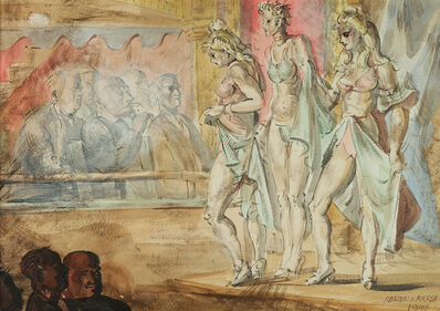 Reginald Marsh, 'Burlesque (on verso: Girls by the Waterfront)', 1946
