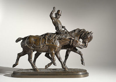 Isidore-Jules Bonheur, 'Two Carriage Horses with Rider', ca. 1866