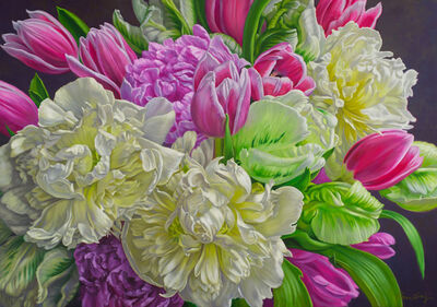 Fiona Craig, 'White Peonies with Tulips'