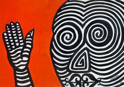 Alexander Calder, 'Striped Face, Striped Hand', 1966