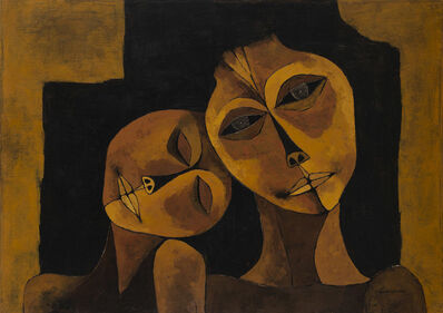 Oswaldo Guayasamín, 'Dos figuras', na