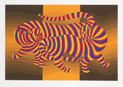 Victor Vasarely, 'Two Tigers on Gold', 1980