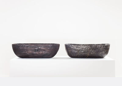 Anders Ruhwald, 'LaminatedPinewood Bowl, charred. Smolder-firedEarthenware Bowl, Crackedand Mended.', 2014