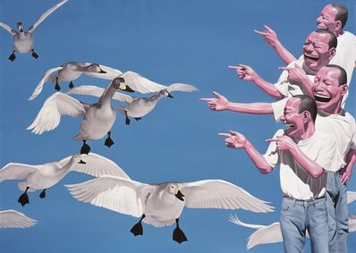 Yue Minjun, 'Big Swans - Planche No. 16 (framed)'