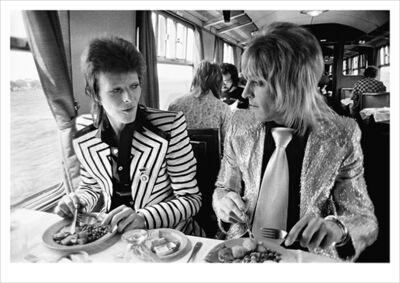 Mick Rock, 'Bowie/Mick Ronson, Lunch on Train to Aberdeen', 1973