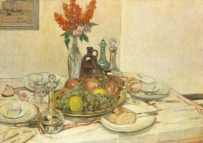Galileo Chini, 'Tavola apparecchiata con fruttiera e fiori', 1933 ca
