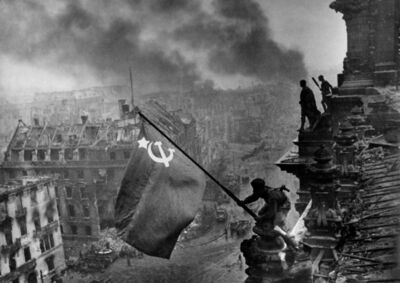 Yevgeny Khaldei, 'Flag Over the Reichstag, Berlin, May 2, 1945 ', 1945