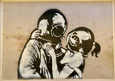 "Banksy, '""Think Tank"" original spray on cardboard.', 2003"