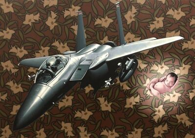 Stephen Hall, 'Painting of fighter plane with baby: 'Immaculate Deception'', 2018