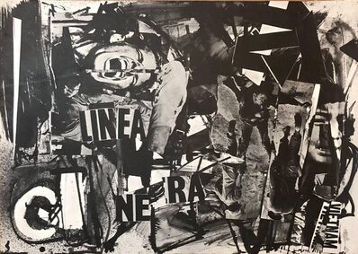 Emilio Vedova, 'Italian Abstract Collage 'Linea Nera' Large Screenprint 1960s Vietnam Era', 1960-1969