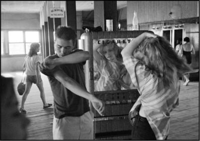 Bruce Davidson, 'Cathy Fixing her Hair in Cigarette Machine Mirror with Arty at the Ocean  Tide Baths and Bar, Coney Island', 1959