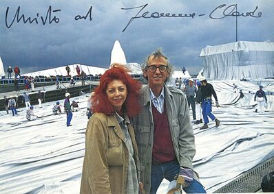 Christo, 'Christo and Jeanne-Claude at the Reichstag (Hand Signed), from the collection of Jeanne-Claude's assistant', 1995