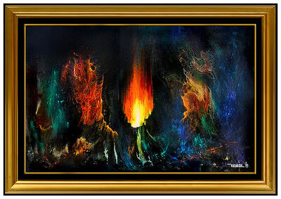 Leonardo Nierman, 'Leonardo Nierman Original Painting Oil On Board Cosmic Fire Abstract Signed Art', Mid-20th Century